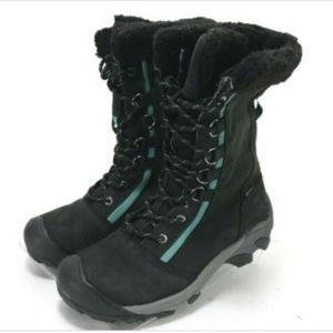 KEEN Dry Womens Boots Size 8 Suede Leather Black